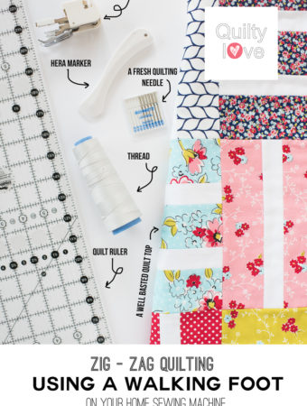 Zig zag walking foot quilting tutorial by Emily of quiltylove.com