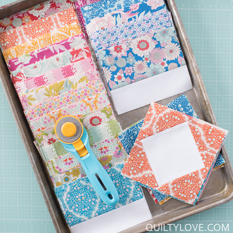 Tilda fabrics square in a square blocks with rotary cutter