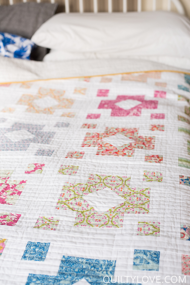 Diamond Lanterns quilt pattern using Tilda fabrics