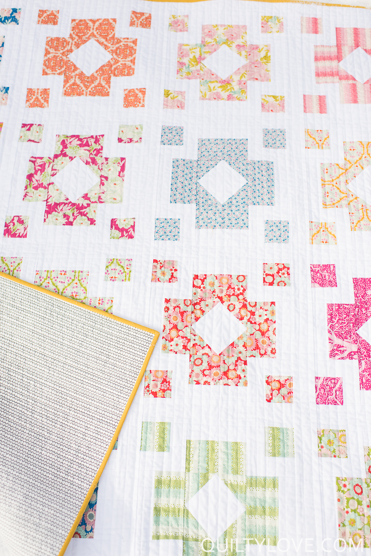 Diamond Lanterns quilt pattern using Tilda fabrics