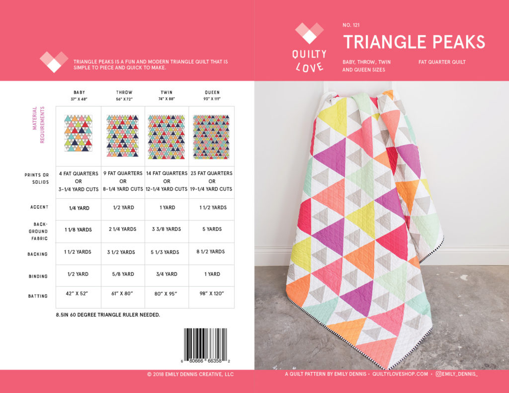 Triangle Peaks quilt pattern by Quilty Love