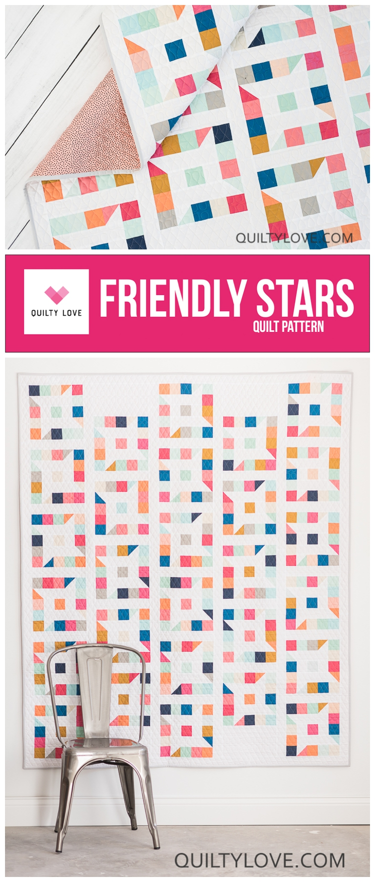 Friendly stars quilt pattern by Emily of quiltylove.com