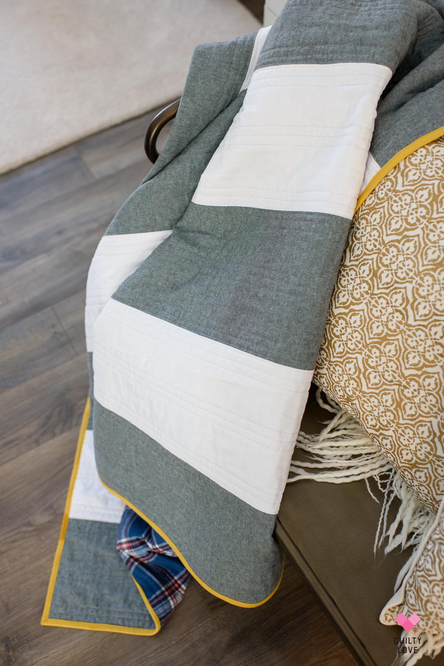 Striped linen quilt tutorial
