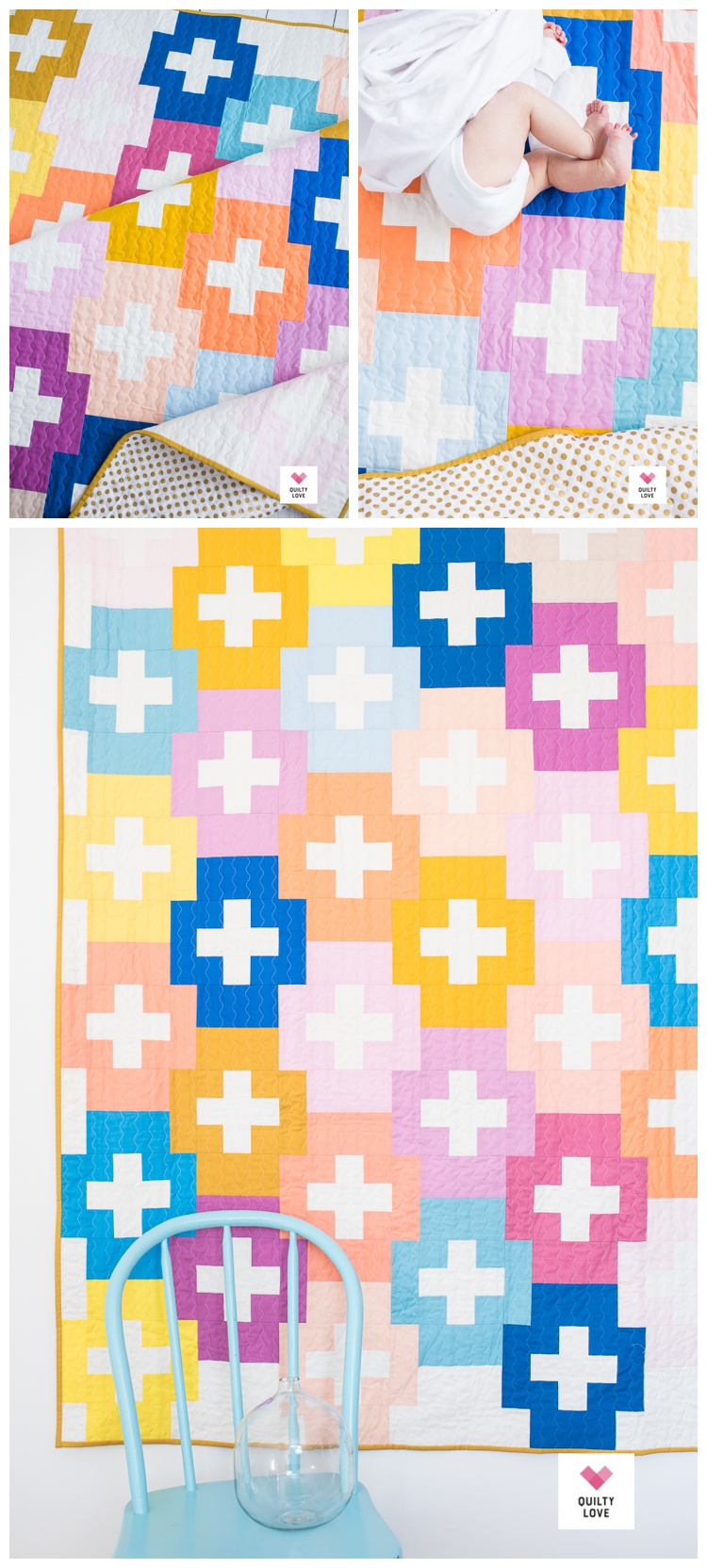Plus and Minus quilt pattern by Emily of quiltylove.com.  Modern plus quilt.