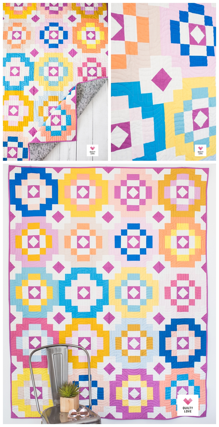 Southwest Sunshine quilt pattern by Emily of quiltylove.com.  Modern solids quilt pattern.