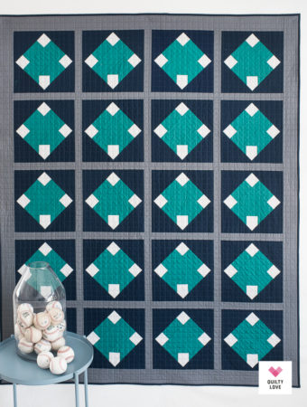 Home Run baseball quilt pattern by Emily of Quiltylove.com