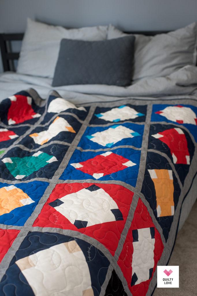 Home Run Quilt - A baseball quilt pattern - Quilty Love