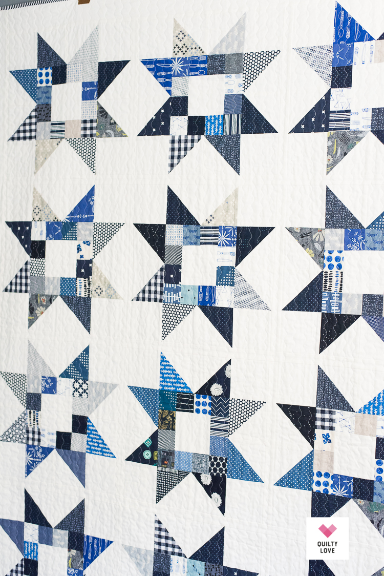 Quilty Stars Quilt pattern - The Scrappy blue one - Quilty Love