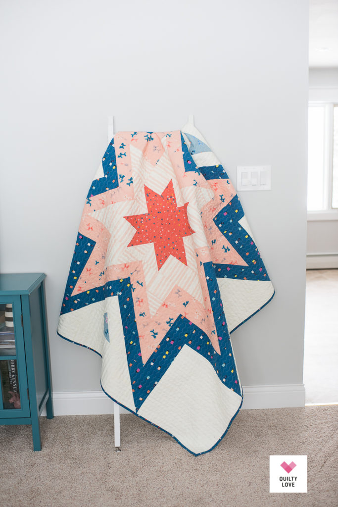 Ruby Star Society Expanding Stars quilt on quilt ladder.