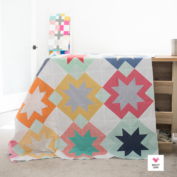 North Star quilt top in Dear Stella fabric