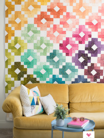 Confetti Ombre Gems quilt as a wall quilt
