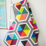Triangle Hexies quilt using Spectrastatic fabrics