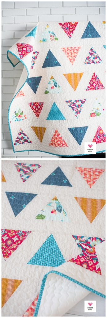 Triangle pop baby quilt pattern by Emily of quiltylove.com
