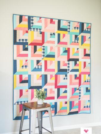 Robert Kaufman Lucky Log Cabins quilt by Quilty Love