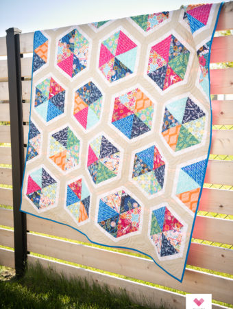 Triangle Hexies quilt using Free Spirit Fabrics